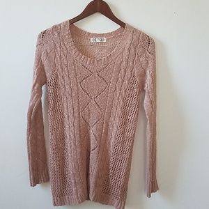 Rose Pink knitted long sleeve sweater. Pink, M